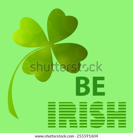 Four- leaf clover - Irish shamrock St Patrick's Day symbol. Useful for your design. Green  clover labels. St. Patrick's day clover icon  on green background. - stock photo