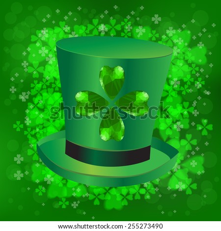 Four- leaf clover - Irish shamrock St Patrick's Day symbol. Useful for your design. Green glass clover  and green hat. St. Patrick's day green leaves on green background. - stock photo