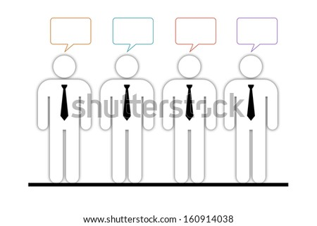 four little businessmen of the same team with vacant text bubbles of different colors above them, each of them has his own opinion