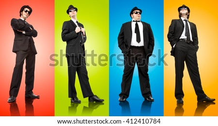 four mafia boss man with black suit isolated on different colours - stock photo