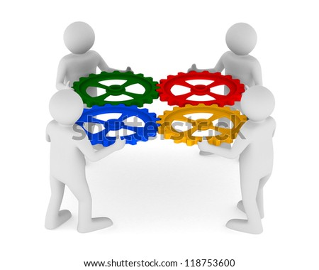 four man with color gear on white background. Isolated 3D image - stock photo