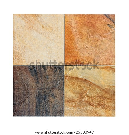 Four marble tiles samples in different colors - stock photo