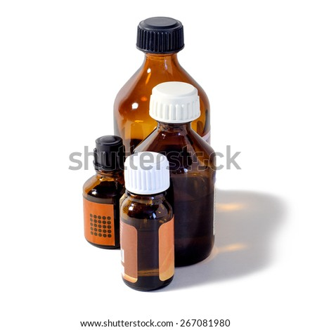 four medical bottles brown glass