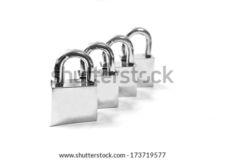 Four metal locks with silver color