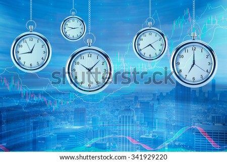 Four models of pocket watches are hovering in the air over financial graphs background. A concept of a value of time in financial markets. Forex chart. New York background. 3D rendering.