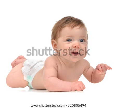 Four month Infant child baby girl in diaper lying happy smiling isolated on a white background - stock photo