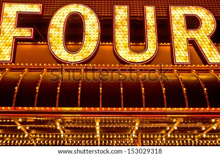 four neon sign - stock photo