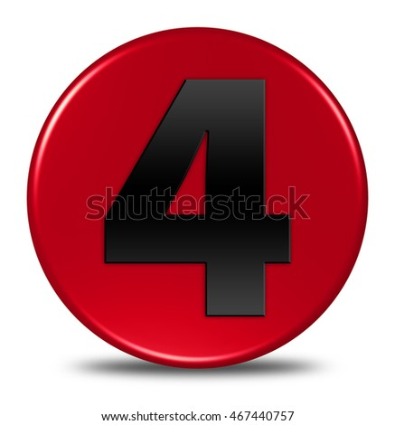Four  Number Circular button isolated. 3d Illustration/3d rendering.