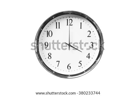 Four o'clock on the white wall clocks (isolated) - stock photo