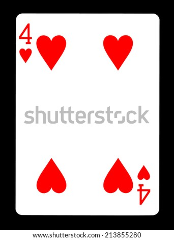 Four of hearts playing card, isolated on black background.