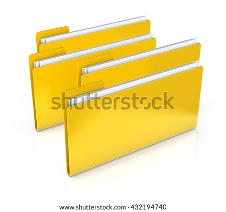 Four office folders with documents isolated on white  background. 3d illustration. Business icon