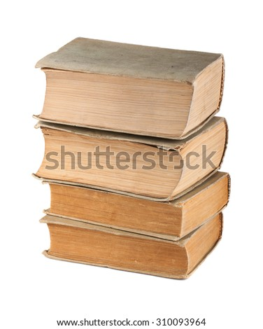 Four old books isolated on white background - stock photo