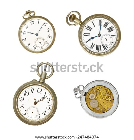 Four old pocket watches - stock photo