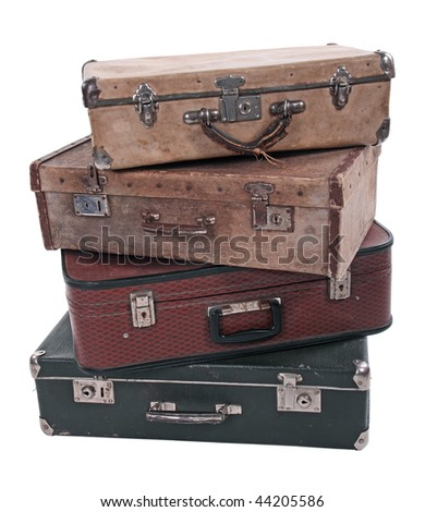 Four old Russian suitcases on a white background