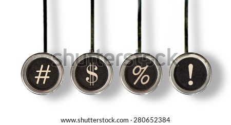 Four old, scratched chrome typewriter keys with black centers and white punctuation marks representing swearing. With drop shadow, isolated on white.