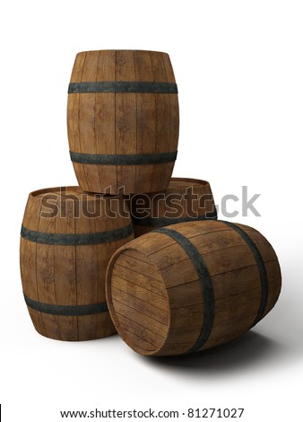 four old wooden barrels - 3d illustration isolated on white - stock photo