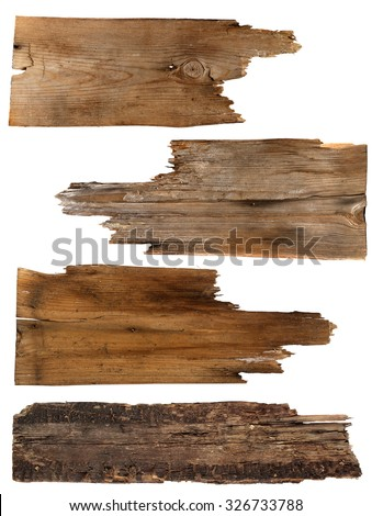 Four old wooden boards isolated on a white background. Old Wood plank - stock photo