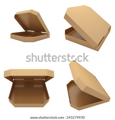 Four opened pizzas boxes isolated at white background. 3d render illustration