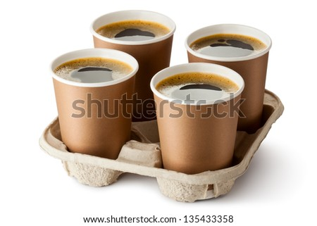Four opened take-out coffee in holder. Isolated on a white. - stock photo