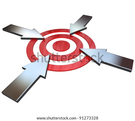 Four opposing arrows approach a bullseye target from 4 different directions in competition to be first to be successful and reach the goal and win