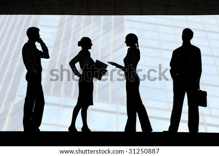 Four outlines of business partners with communicating females between two men