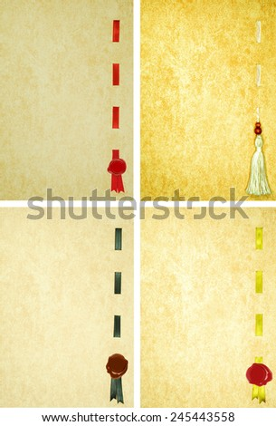 Four pages for diploma and certificat with a colored silk ribbon and wax seal - stock photo