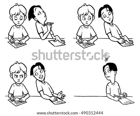 Four-panel cartoon depicting one boy cheating of another boy's paper.