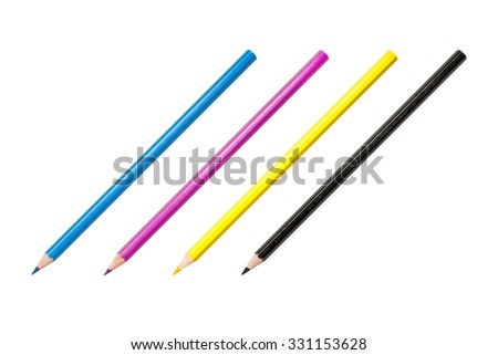 Four pencils,  CMYK color space, photo with very high resolution - stock photo