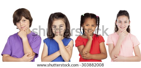 Four pensive children thinking isolated on a white background - stock photo