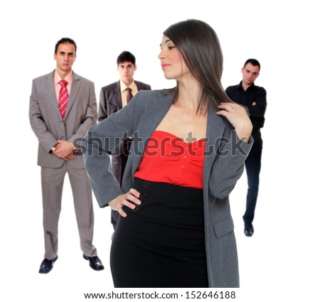 Four people business team over white background - stock photo