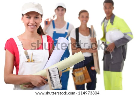Four people from different trades - stock photo