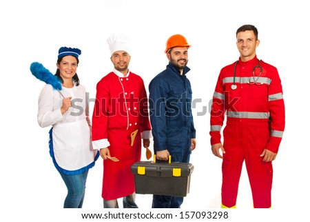Four people with different profession standing in a line isolated on white background