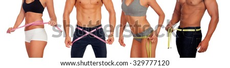 Four perfect male and female bodies with tape measure isolated on white - stock photo