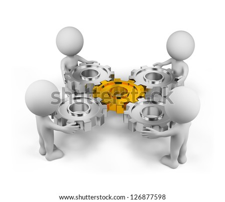 Four person with a gear mechanism. 3d image. Isolated white background.