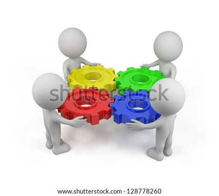 Four person with a gear mechanism. 3d image. White background. - stock photo