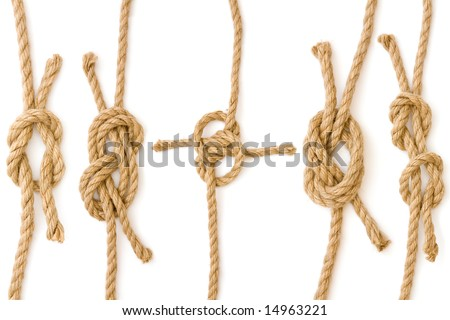 Four pieces of rope fastened in four different knots