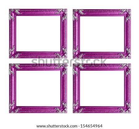 Four pink picture frames - stock photo