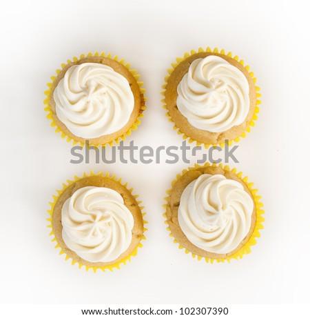 Four Plain Cupcakes - stock photo