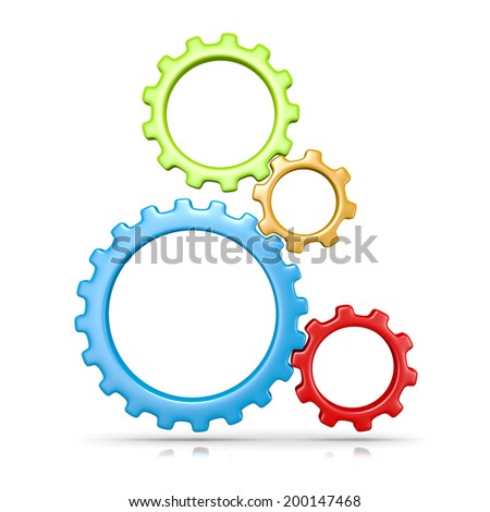 Four Plastic Colorful Gears Engaged 3D Illustration Isolated on White Background - stock photo