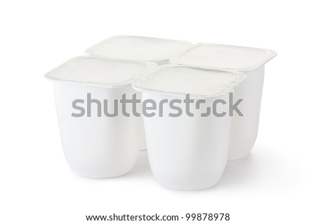 Four plastic container for dairy products with foil lid. Isolated on a white. - stock photo