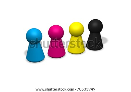 four play figures in cmyk colors - 3d illustration