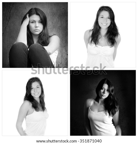 Four portraits of the same girl, emotion concept, outdoor photos: sad and depressed, studio photos: positive and happy, black and white photos - stock photo