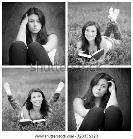 Four portraits of the same young woman, emotion concept, in front of a wall: sad and depressed, in nature: positive and happy, black and white photos - stock photo
