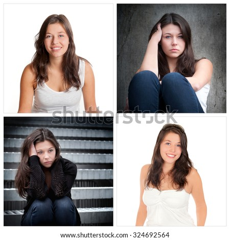 Four portraits of the same young woman, emotion concept, outdoor photos: sad and depressed, studio photos: positive and happy - stock photo