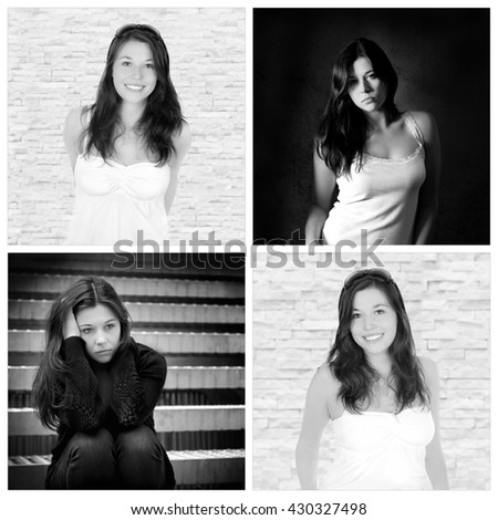 Four portraits of the same young woman, emotion concept, outdoor photos: sad and depressed, studio photos: positive and happy, black and white - stock photo