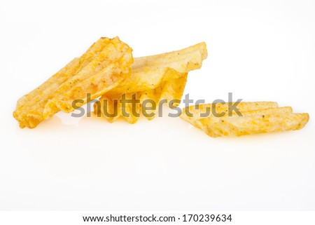 Four potato chips with reflection isolated on white background