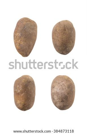 Four potatoes isolated on white background - stock photo