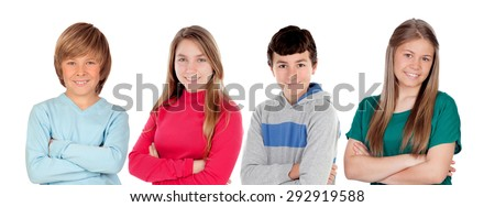 Four preteen friends isolated on a white background - stock photo