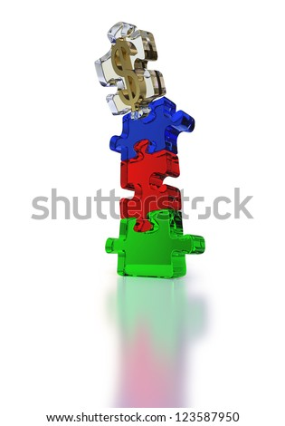Four puzzle pieces with embedded dollar sign falling off the cliff on white background - stock photo
