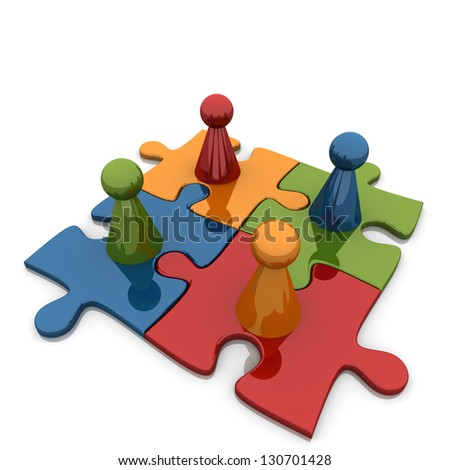 Four Puzzles With Four Figures. - stock photo